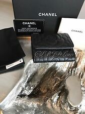 CHANEL So Black Caviar Wallet Camellia Small Compact Trifold Card Holder NEW NWT