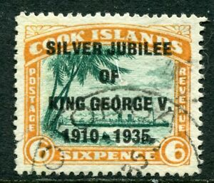 COOK Is....  1935 silver jubilee  6d  with variety  'Narrow N'  used