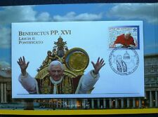 Vaticano 2013 NUMISBRIEF Papa Benedetto XVI dimissioni moneta da 50 C. VATICANO FOLDER