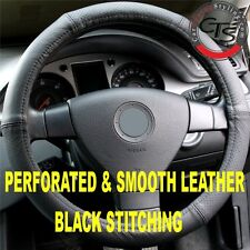 MERCEDES E CLASS W210 W124 CDI STEERING WHEEL COVER P&S LEATHER BLACK STITCH