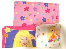 Vintage 1999 Barbie Twin Sheet set with Daisy Pattern Flat, Fitted & pillowcase