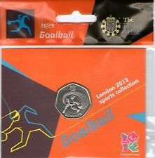 2012 50p OLYMPIC 13/29 GOALBALL COIN HANGING BAG BRILLIANTLY UNCIRCULATED @