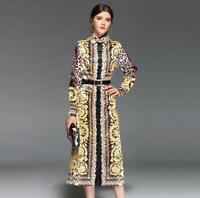 Ladies Runway Occidient Long Sleeve Shirt Dress Lapel Silk Evening Party Dresses