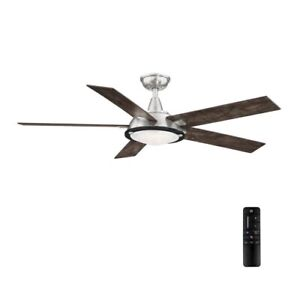"""Home Decorators Collection AM686-BN Merienda 56"""" LED Brushed Nickel Ceiling Fan"""