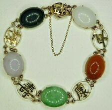 Vintage 14K 585 GOLD Multi Color JADE Cab Chinese Calligraphy Character Bracelet