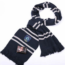Harry Potter Ravenclaw House Knit Wool Scarf Soft Warm Costume Cosplay Blue Hot