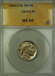 1929-S Buffalo Nickel Coin 5c ANACS MS-65 Better Coin