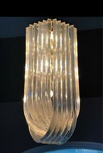 Large 15-light Lucite Acrylic Ribbon Modern Chandelier Hanging Light