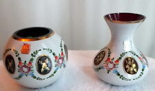 Pair of BOHEMIAN ART GLASS Rose Bowls c. 1950s White to Cranberry & Green