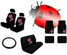Red Ladybug 15pc Car Seat Covers Bench Carpet Floor Mats Interior Set CS3