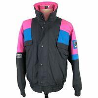 VTG Solus Ski Jacket Parka Mens Medium Black Pink Blue Waterproof 80s 90s Coat