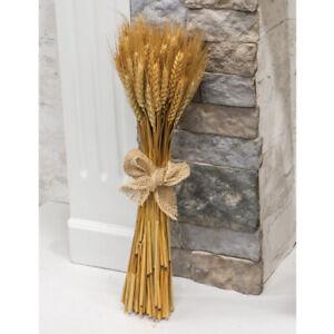Beautiful Country Farmhouse Natural Dried Decorative Wheat Bundle W/ Burlap Bow