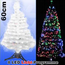 LED Weihnachtsbaum WEISS 60 cm Tannenbaum farbwechselnde Glasfaser Fiberoptik
