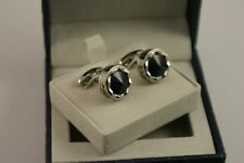 Montegrappa Parola Cufflinks - Steel with Dark Blue Glass Inlay