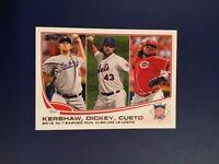 2013 Topps # 81 KERSHAW-DICKEY-CUETO Dodgers N.L. ERA League Leaders Qty !