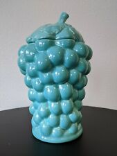 "VINTAGE 1940'S RED WING POTTERY ""GRAPES"" COOKIE JAR AQUA"