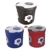 Folding Storage Ottoman Seat Toy Storage Box Faux Leather Football Pouffe Stool