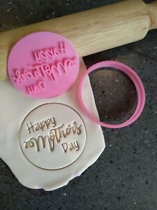 Happy Mothers Day Cookie Fondant Stamp Embosser and Cutter