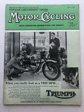 May 1957 England Motor Cycling Magazine Triumph Motorcycle on Cover