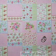 BonEful FABRIC Cotton Quilt Pink White Rose*Bud Flower Shabby Chic Cottage SCRAP