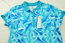 nwt! women's Covington top size 20-22W short sleeve collar button at neck floral