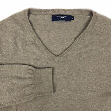 J Crew Men's Medium Gray Brown Cotton Cashmere V-neck Sweater Long Sleeve