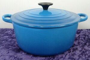 Le Creuset Cast Iron Marseille Blue Round Casserole 24cm