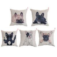 French bulldog pattern cotton linen throw pillow case cushion cover home decorUQ