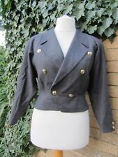 Cordier Ladies Dark Grey Tailored Jacket With Gold Toned Buttons Size M