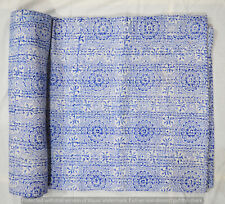 New Indian Cotton Kantha Quilt Twin Bedding Hand Block Print Coverlet Bedspread