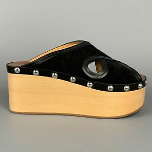 ISABEL MARANT Size 6 Black Suede Leather Studded Platform Sandals