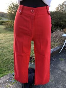 Papaya Capri Pants Pedal Pushers Size 10 Red Trousers Retro