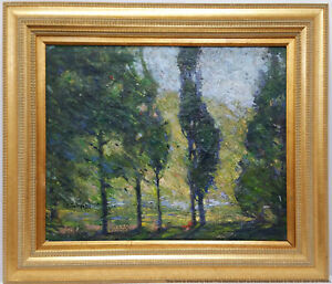 Antique John Wenger Russian American Impressionist Landscape Painting NY Estate