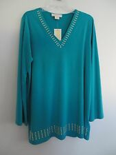 NWT Michael Kors Womans Poly Blend Peacock Green Top with Gold Beads Size 0X