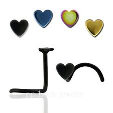 1pc. 20G~3mm Heart Shaped Top Titanium Anodized 316L Surgical Steel Nose Screw