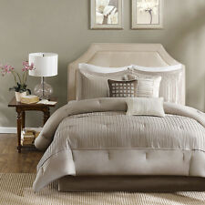 Beautiful Taupe / Grey Pleating Comforter Sham Bedskirt 7 pcs Set Cal King Queen