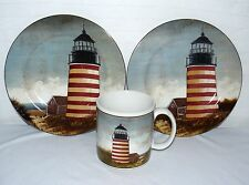 LIGHT HOUSE ONEIDA BY THE SEA DAVID CARTER BROWN STONEWARE 1 CUP & 2 SAUCERS