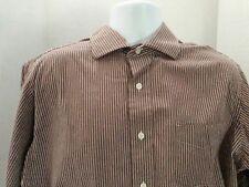 Cremieux XL Shirt Long Sleeve Button Down Brown Striped Cotton
