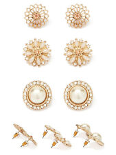 NEW Classic Pearl Pave Crystal Stud Earring Set Gift Wedding Bridal Party Work