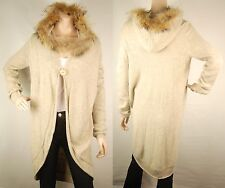 ConMiGo London CD900 Beige Wool Coat style Cardigan with Fox Fur Hood