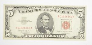 Crisp 1963 Red Seal $5 United States Note - Better Grade *122