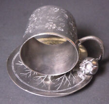 ANTIQUE SILVER PLATE NAPKIN RING CUP SAUCER - MERIDEN