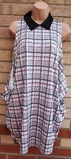 PAPAYA SAFETY PIN PRINT WHITE GREEN BACKLESS BAGGY OVERSIZE TOP TUNIC BLOUSE M
