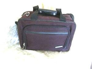 Vintage Skyline Luggage Burgundy Travel Bag Tote Duffle Shoulder Carry-on #drg