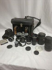 vintage film camera lot konica autoreflex T flash light  case filter Untested