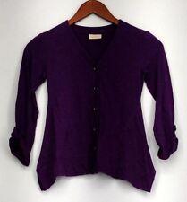 9a281a252c88 LOGO Littles by Lori Goldstein Sweater Sz L (10) Knit Cardigan Purple  A255468