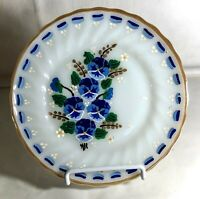 """Fire King Shell Hand Painted Blue Pansy 7 1/4"""" Salad Plate"""