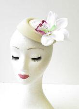 Cream White Orchid Flower Pillbox Hat Vtg Fascinator Races Rockabilly 1950s 2067