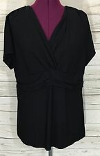 Women's QVC Motto Black V-Neck Short Sleeve Knit Top With Ruching Size L