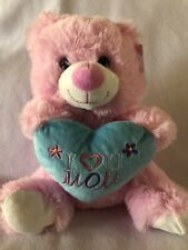 Mothers Day Teddy Bear Stuffed Animal Best Mom Ever Gift Mom Heart Purple Green